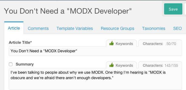 Optimize for SEO with MODX