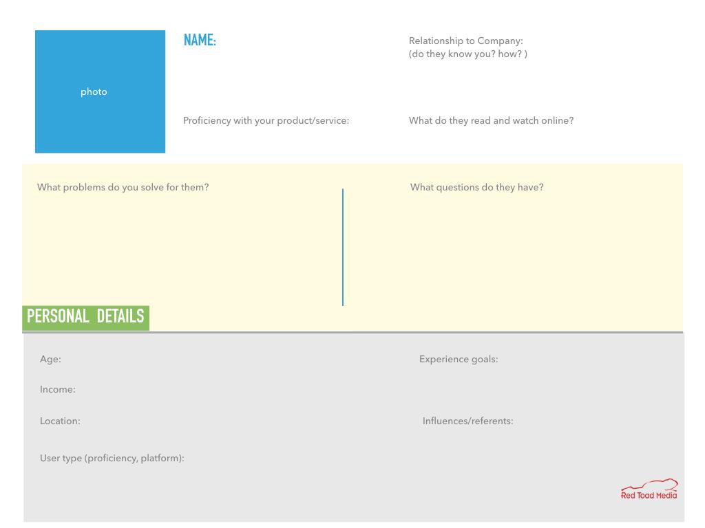 Web Site User Persona Template